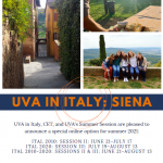 A flier with group pictures of students in Italy with the caption: UVa in Italy: Siena
